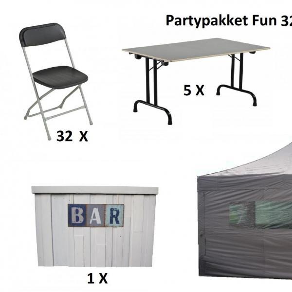 Partypakket 'Fun' voor 32 personen