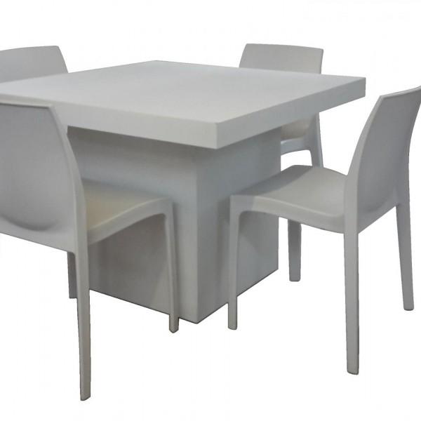 Cubo Dinnertafel met 4 X stoel Pure White